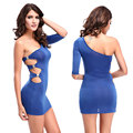 One Shoulder One Sleeve Women Sexy Night Club Wear Dress Side Hollow Out Prom Party Dresses Vestido Pink Blue Black Plus Size