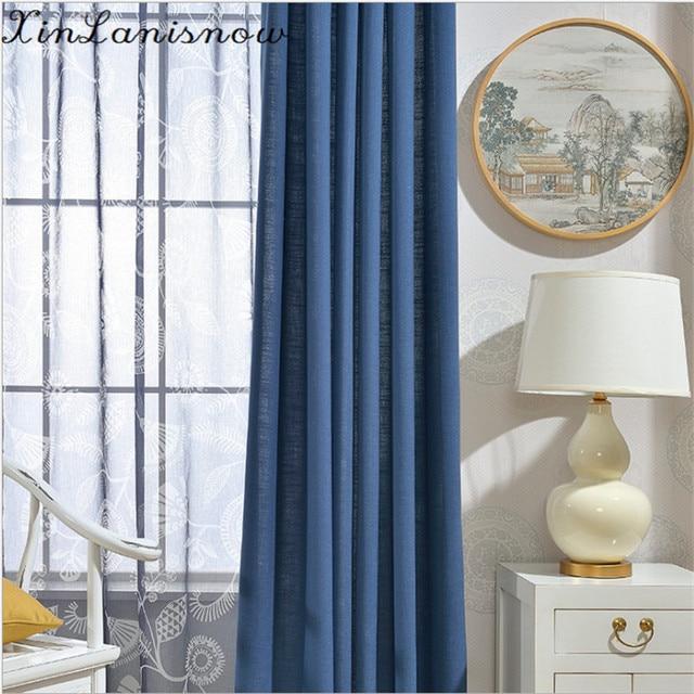 buitenlandse gordijnen voor living eetkamer slaapkamer moderne boutique eenvoudige vlakte blauwe gordijnen katoen verven doek gordijn