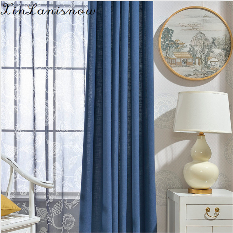 Foreign Curtains For Living Dining Room Bedroom Modern Boutique Simple Plain Blue Cotton Dyeing Cloth Curtain E In From Home Garden On