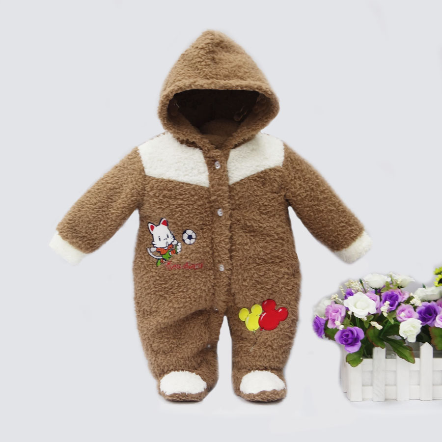 2019 spring winter hot coral fleece hoodie romper embroidery long-sleeve baby clothing girl one piece clothes newborn warm suit