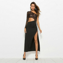 MUXU sexy black lace dress transparent fashion vestidos robe femme long clothing summer backless club dresses
