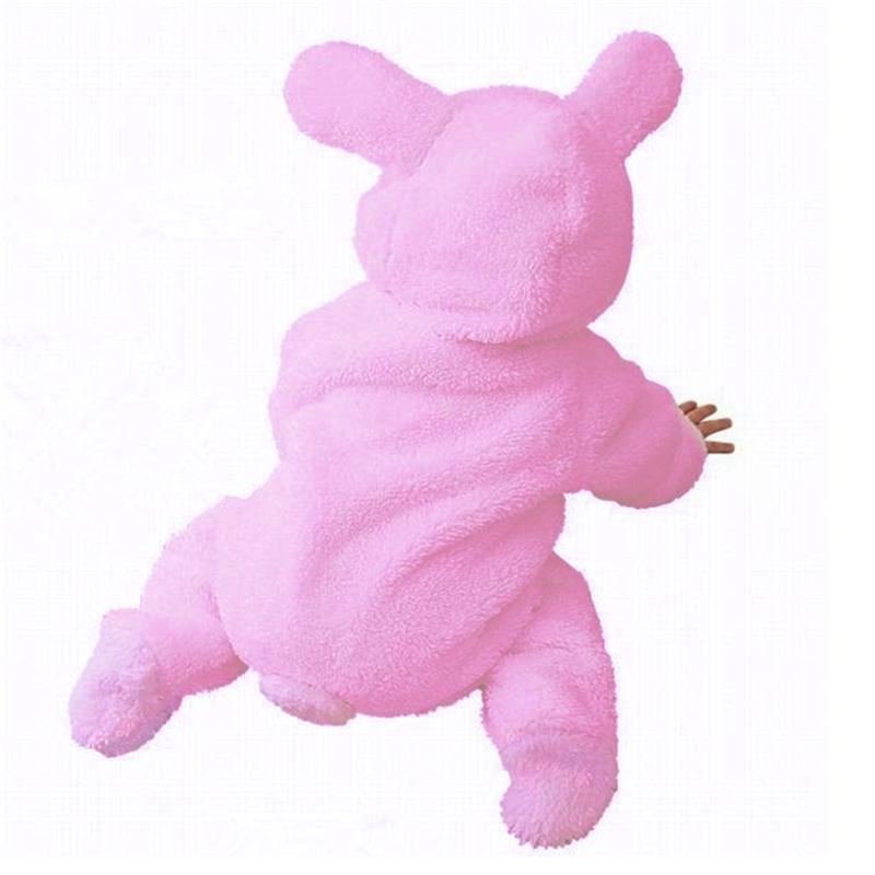 Pink Rabbit Baby Overall Children's Winter Romper Clothes Coral Velvet Girl Thick Hooded Jumpsuit Newborn Clothing