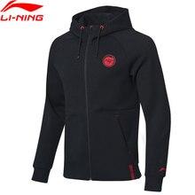 Мужская толстовка с капюшоном Li Ning, спортивная куртка из 66% хлопка, 34% полиэстера, Стандартный крой, с подкладкой li ning, AWDP035, MWW1555