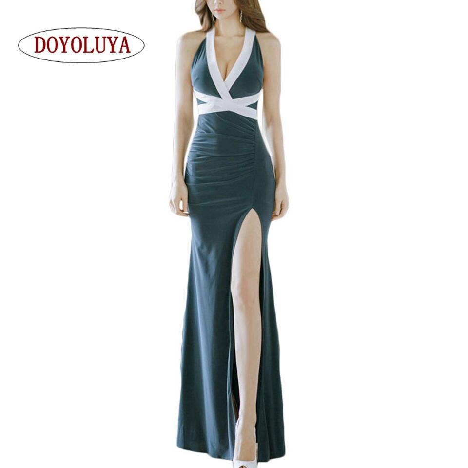 DOYOLUYA  Maxi Party Dress Women Blue Halter Neck Sexy Cross Backless High  Slit Summer Maxi Dress Elegant Club Long Cami Dress ec94064e4387