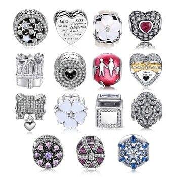 4eaff5f3789e JewelryPalace auténtico 925 cuentas de plata esterlina corazón amor flor  Cubic Zirconia Charms fit pulseras joyería de las mujeres de moda