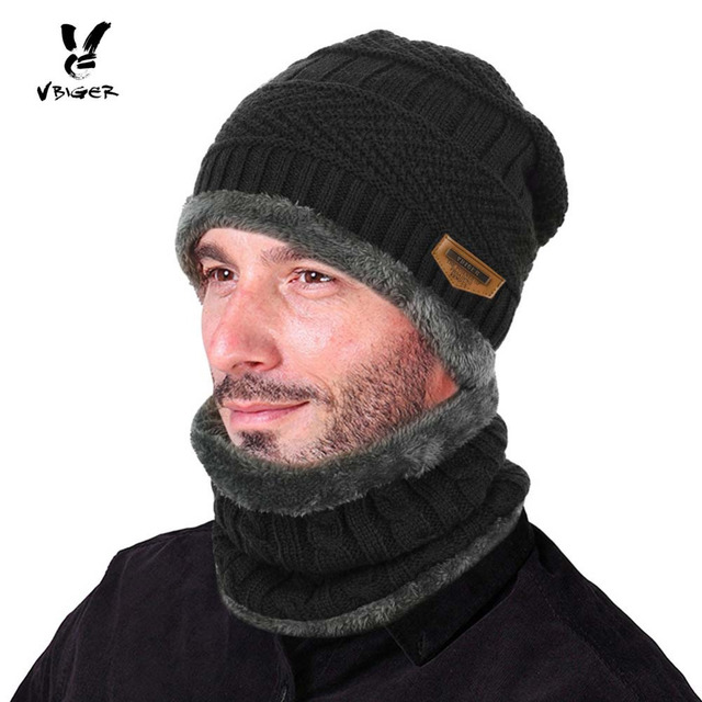 7682cdf54ff1f VBIGER 2 قطعة الرجال الشتاء الدافئة وشاح محبوك قبعة قبعة مجموعة دائرة وشاح  رشاقته Solf الصوف