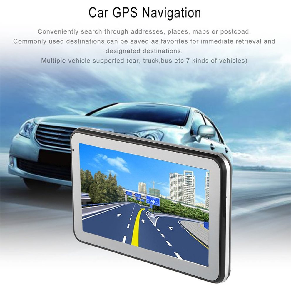 5″ 886 HD Car Truck GPS Navigation 256M+8GB Reversing Camera Touchscreen FM Navigator Accurately Position Black
