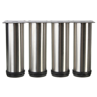 4Pcs Cabinet Legs Adjustable Stainless Steel Furniture Feet Round Stand Holder 15cm
