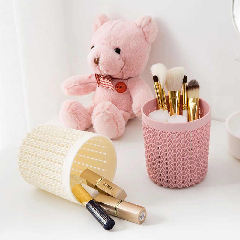 Plastic Rattan Desktop Storage Basket Home Office Pen Pencil Organizer Case Dressing Table Cosmetic Makeup Storage Container Box