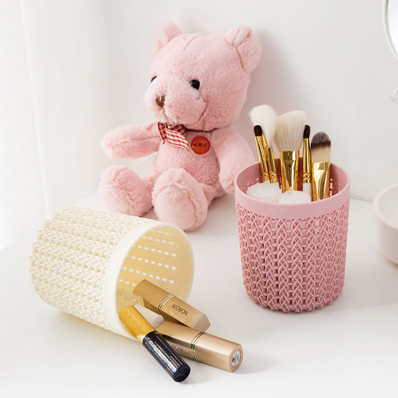 Plastic Rattan Desktop Storage Basket Home Office Pen Pencil Organizer Case Dressing Table Cosmetic Makeup Storage Container Box