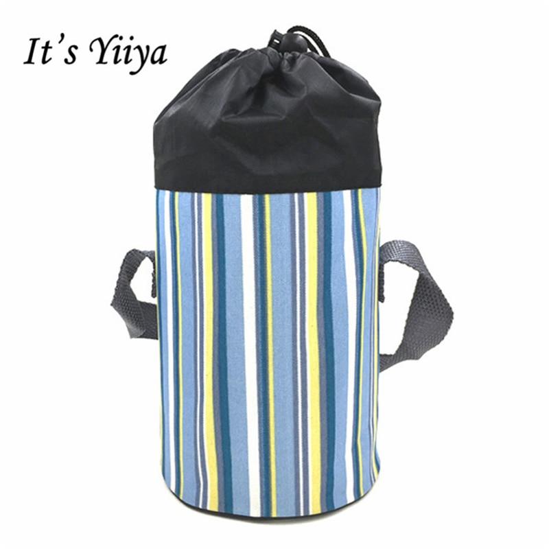 Its Yiiya 2017 New Cooler Bag Fashion Plaid Portable Student Baby Pull rope Bag Thermal Bags BW026