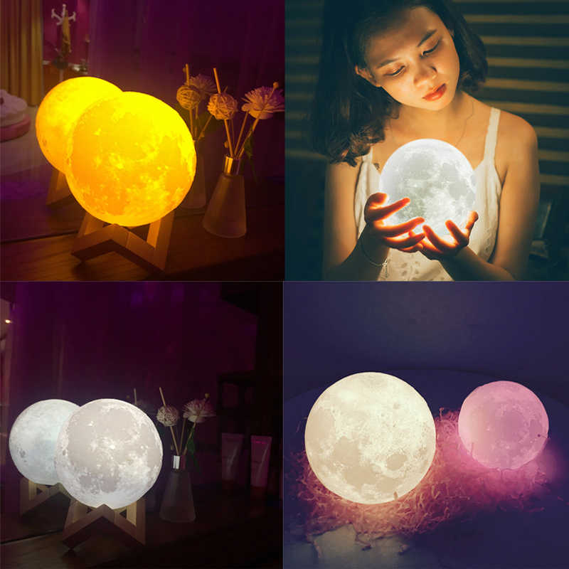 Moon Light 3D Print With Stand Luna Moon Lamp Rechargeable Touch Switch Night Light for Home Bedroom Decoration Children Gift