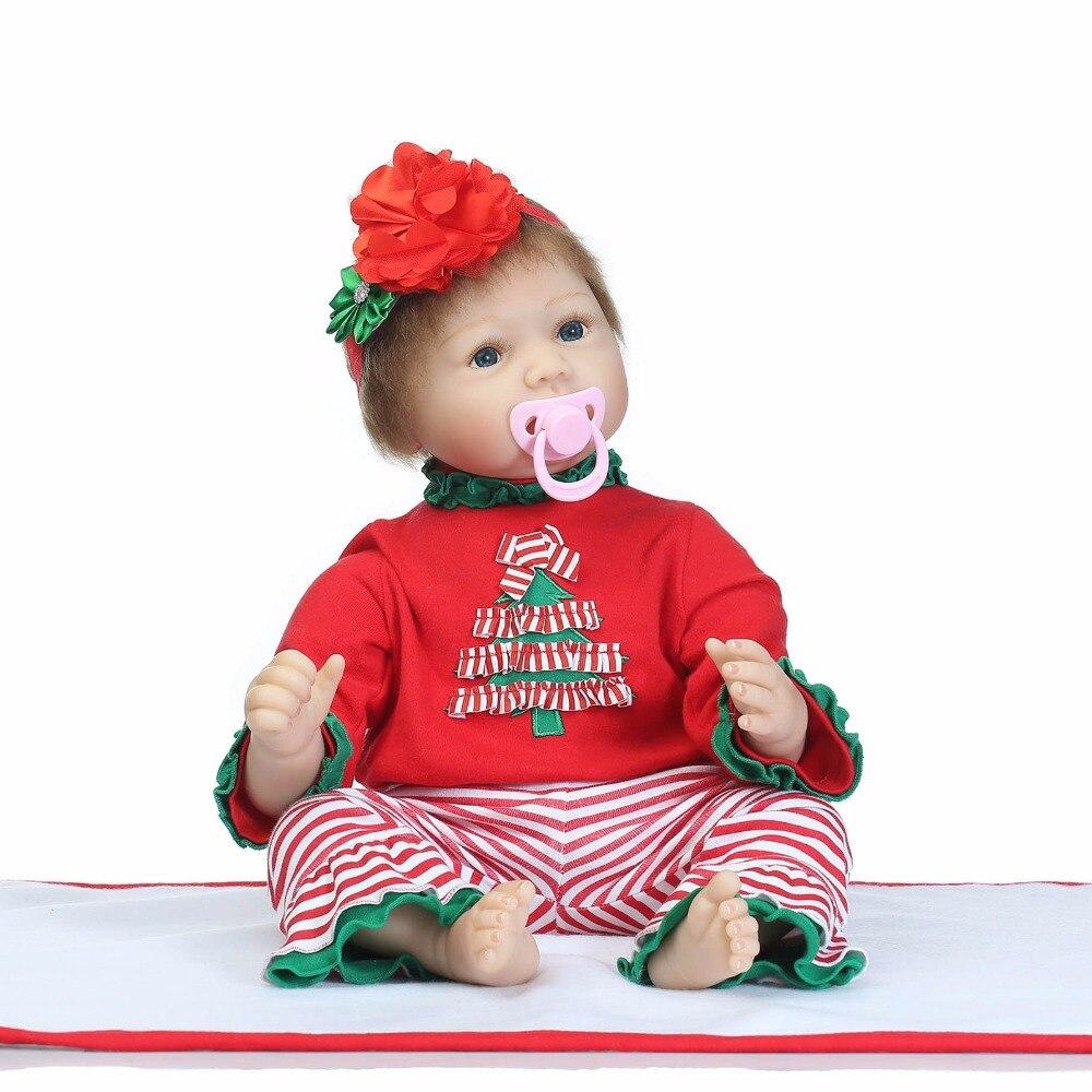 Reborn Baby Doll 22 pollice 55 cm Silicone baby reborn dolls realistica del bambino appena nato con Albero Di Natale Vestiti Di Natale Migliore regaliReborn Baby Doll 22 pollice 55 cm Silicone baby reborn dolls realistica del bambino appena nato con Albero Di Natale Vestiti Di Natale Migliore regali