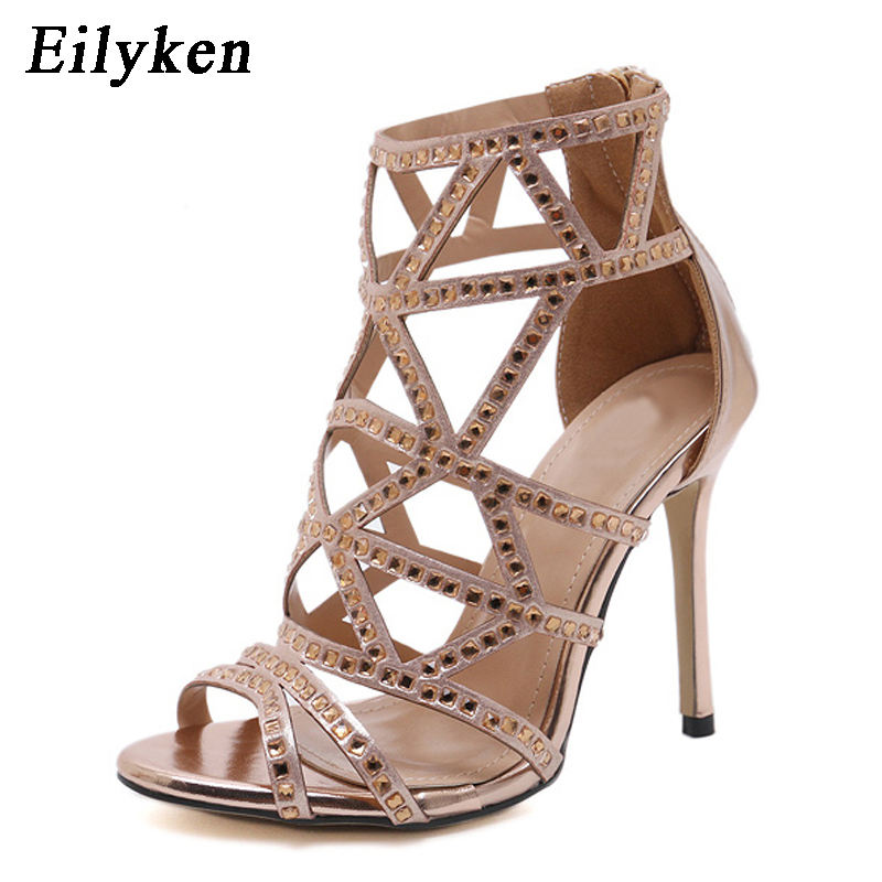 99841c958db2e9 Eilyken Open Toe Rhinestone Design High Heel Sandals Sexy Golden Crystal  Ankle Wrap Diamond Gladiator Women Sandals Size 35 40-in High Heels from  Shoes on ...