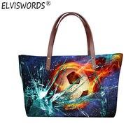 ELVISWORDS Wommen Handbags Women Canvas Bags 3d Ball Print Designers Men Shoulder Bag Casual Travel Nylon Waterproof Double Flap