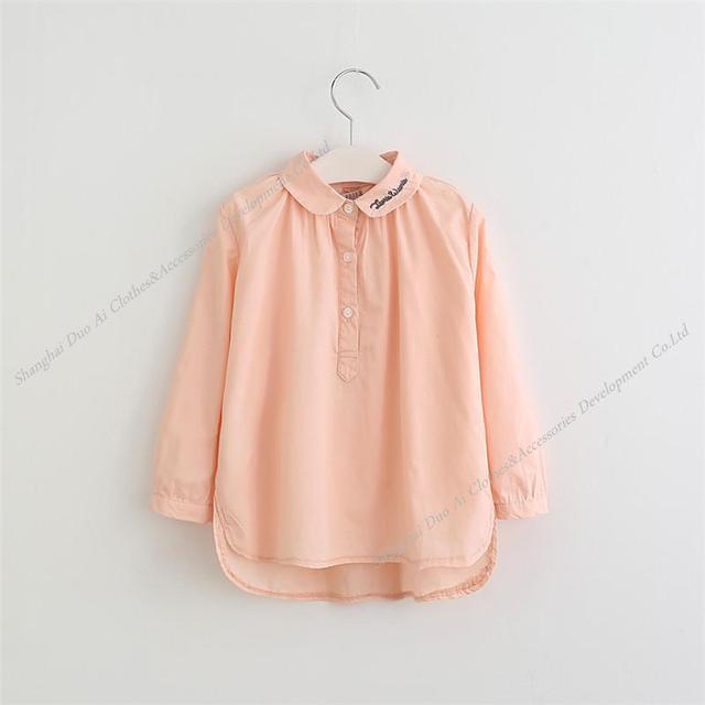 Nueva llegada de los niños camisa de la Muchacha de Moda Blusa 100% Blusa de manga larga Bordado 4-9Y