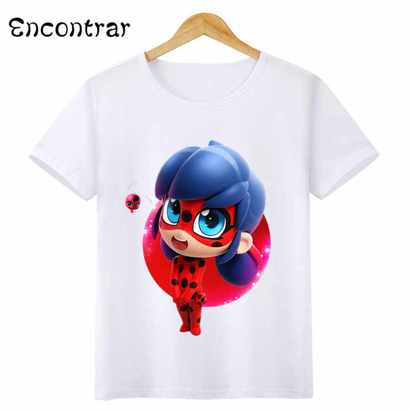 Kids Miraculous Ladybug Design T Shirt Boys Girls Casual Short Sleeve Tops  Children s Funny White 0c59556a8a9f