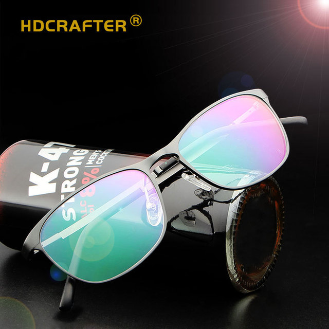 25383722b6c1b HDCRAFER New Fashion Brand Design Glasses Ultra-Light Aluminum-Magnesium  Frame Men Anti-