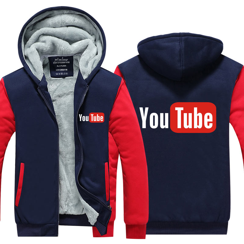 2016 Funny Youtube Logo Printed Hoodies Men You Tube Men Jacket Luxury Brand Thicken Zipper Tops Plus size