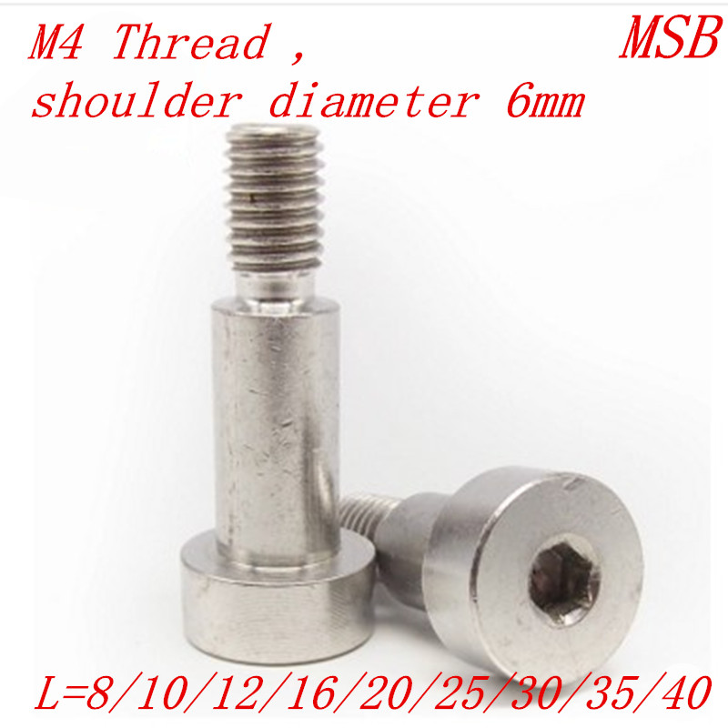 10pcs <font><b>M4</b></font> thread 6mm diameter MSB stainless steel 304 shoulder screw image