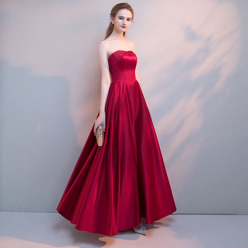 92f223ceb54 Elegant Burgundy Long Satin Prom Dress 2018 New Arrival Simple Sexy  Strapless off shoulder Lace Up Open Back Formal Party Gowns