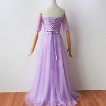 Bridesmaid Dress  Long Party Dress  Elegant Dress Violet Color Floor-Length  Women for Wedding Party back of bandage