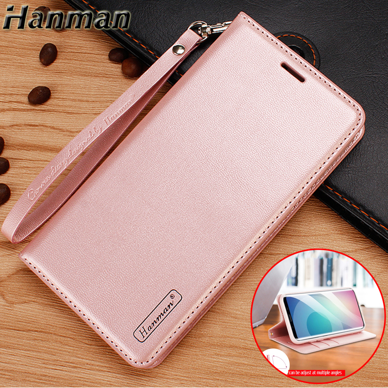 Hanman for Samsung Galaxy A8 2018 Case Flip Cover A8 A8Plus Case Genuine Leather Stand Capa for Samsung A8 Plus 2018 Case Coque