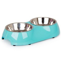 Square Shape Enviromental PP Material Pet Bowl Ingenious Food Water Bowls For Puppy Dog Cat Eating