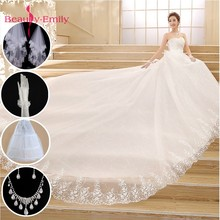 Beauty-Emily Plus Size White Red Wedding Dresses 2018 Ball Gown Beads Sweetheart Lace Up Party Bridal Veil