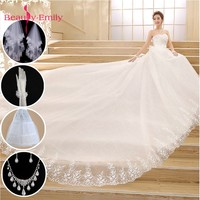 Beauty Emily Plus Size White Red Wedding Dresses 2018 Ball Gown Beads Sweetheart Lace Up Wedding Party Bridal Dresses Veil