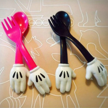 New Cute Baby Gift Cartoon Children Kids Tablewear Baby Spoon Fork Set  Baby Feeding Dinnerware