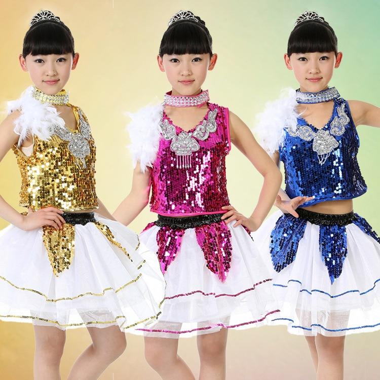 98efe6d45 Girls Jazz Latin Ballet Dance Costume Kids Party Dress Up Dancing ...