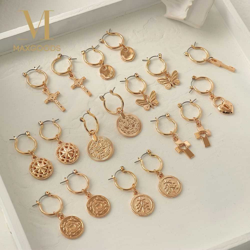 Punk Rock Small Geometric Round Butterfly Cross Charm Hoop Dangle Earrings Metal Gold Color Fashion Jewelry Gift