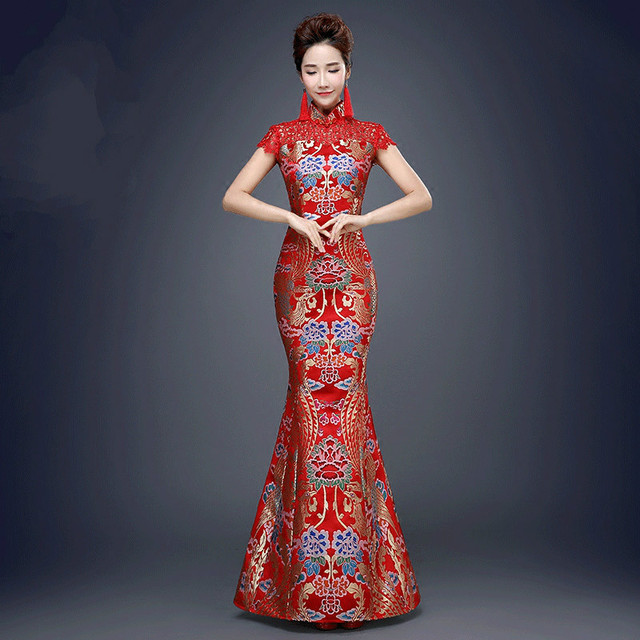 450a108f1 Red Chinese Traditional Dress for Wedding Party Women Fishtail Ancient Qipao  Dress Lady Cheongsam Dress Evening