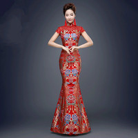 Red Chinese Traditional Dress for Wedding Party Women Fishtail Ancient Qipao Dress Lady Cheongsam Dress Evening Party Costume 89