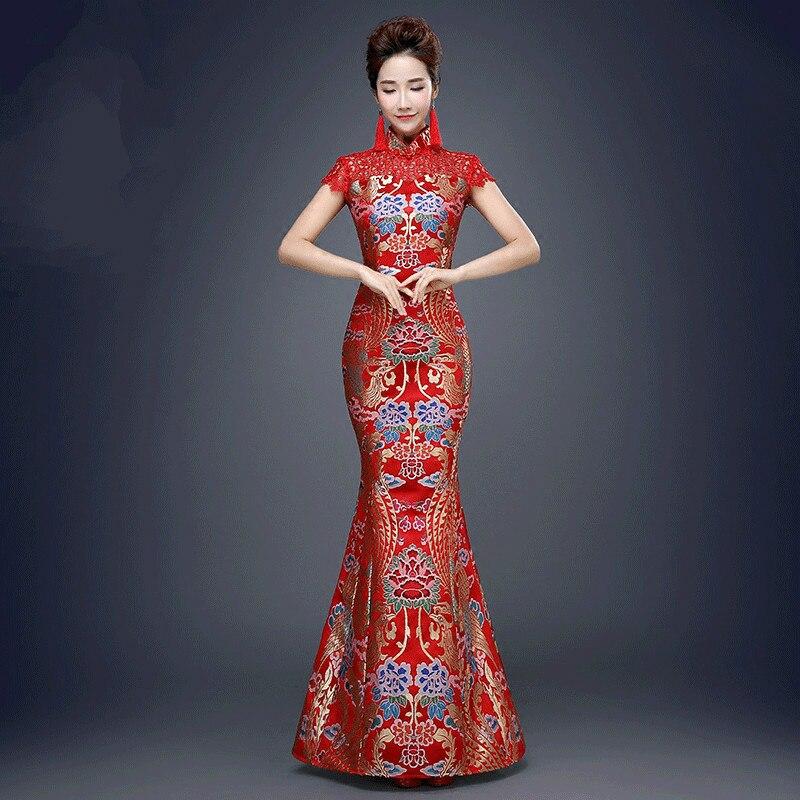 Robe traditionnelle chinoise rouge pour la fête de mariage femmes queue de poisson antique Qipao robe dame Cheongsam robe soirée Costume 89