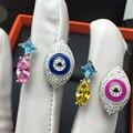 Американский Дизайн, Элегантные и Благородные Серебряные Злые Глаза Палец Кольцо Для Женщин Стерлингового Серебра 925 Регулируемая Обручальное Кольцо Ювелирные Изделия