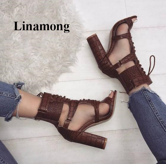 Solid Fashion Rear Zipper Sexy Square Heel Cross-tied Women Sandals Summer Fashion Sexy High Heel Chunky Heels Women Sandals цена