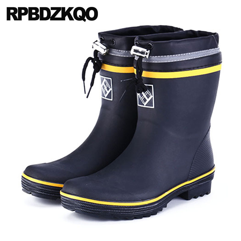 Thick Soled Mens Rubber Rain Boots Non Slip Fur Cheap Winter High Sole Tall Plus Size Knee Steel Toe Black Shoes Waterproof image