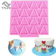 TTLIFE 26 Alphabet Letters Silicone Mold Flag Shape Chocolate Fondant Cake Cooking Decorating Tools Cake Sugarcraft Baking Mould цена