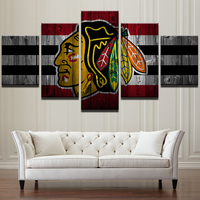 Picture Frame Modern Decor Style Printed Poster Living Room 5 Panel Ice Hockey Sports Blackhawk Wall