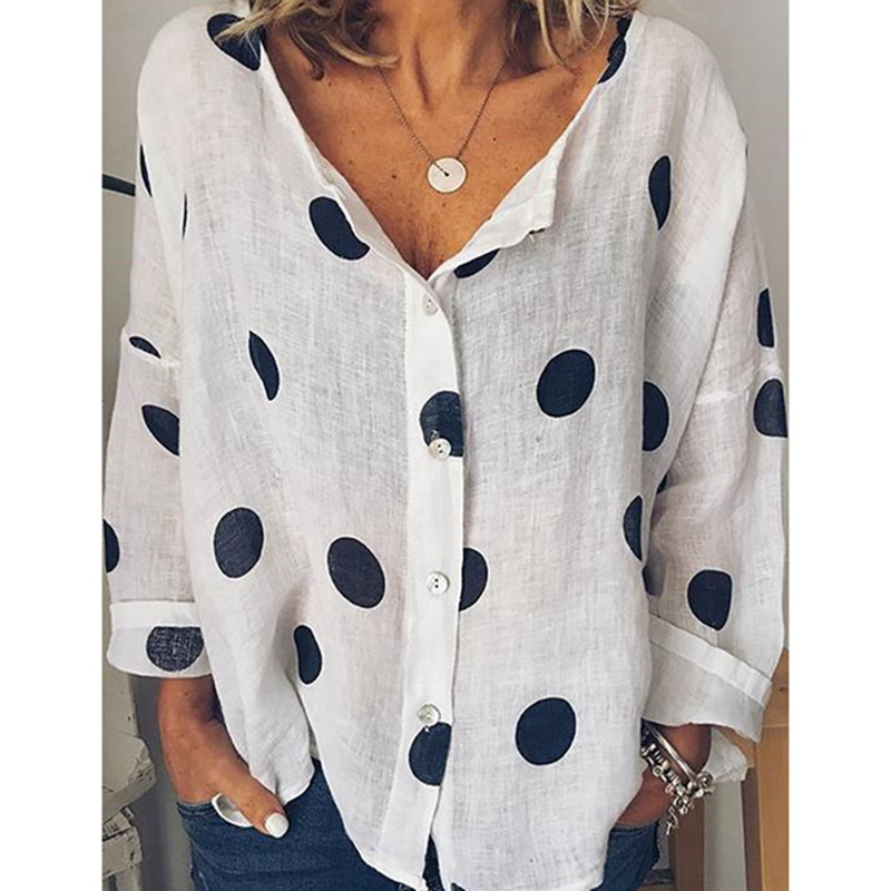MoneRffi Polka Dots Print Women Casual   Blouse     Shirt   Long Sleeve Buttons Loose Women   Blouses   Tops Plus Size Basic Blusas Beach