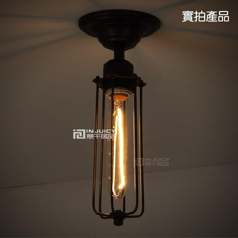 Edison Lámpara de techo de jaula pequeña de hierro forjado estilo - Iluminación interior