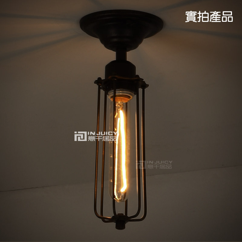 Edison Vintage Style Wrought iron Small Cage Ceiling lamp With T185 Bulb Cafe Bar Coffee Shop Bedside Hall Way Store Shop Club image