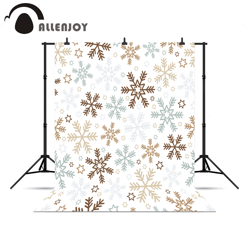 Allenjoy photographic photo background merry Christmas white snowflakes stars vinyl photography backdrop for photo Studio