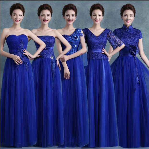 Long Tulle Women Bridesmaid Dress Royal Blue Dresses Gowns