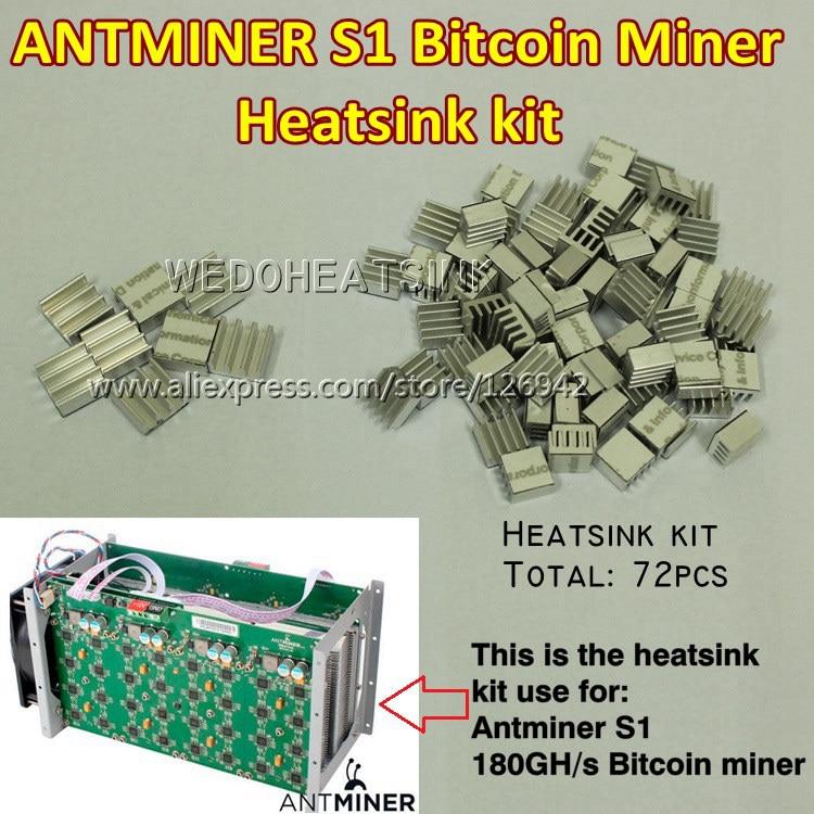 Bitcoin Miner Antminer ASIC BTC 180GH/s Rig DIY Aluminum Heatsink Cooler Cooling kit(72pcs)