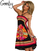 Ganby 2017 Fashion Hot Sale Women Summer Big Size Sling Hanging Neck Wrapped Chest Dress Sexy