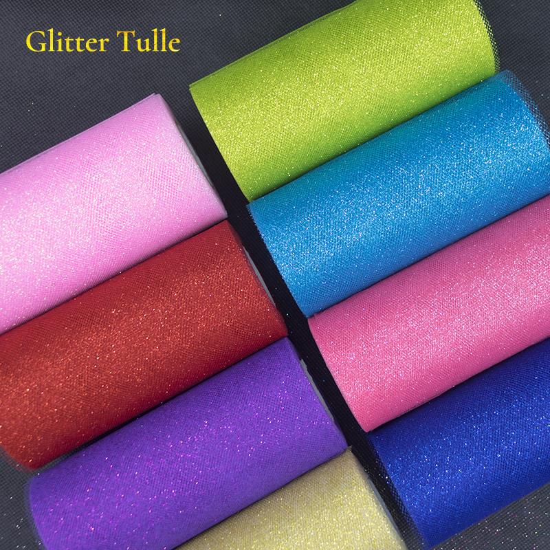 Image 5 - 25Yards Glitter Sequin Tulle Roll Wedding Decoration Gold Laser Organza Silver Sparkly Glitter Sequin Tulle  Mesh Party Supplies-in Party DIY Decorations from Home & Garden