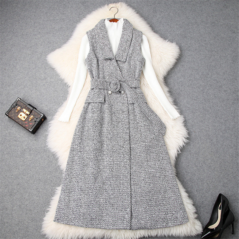 Top Quality Winter Dresses for Women 2018 Fashion Long Sleeve Knitting Pullovers Top Woolen Vest Dress